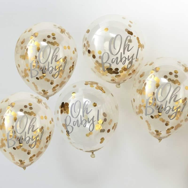Oh Baby Gold Confetti Balloons for a boy or girl virtual baby shower