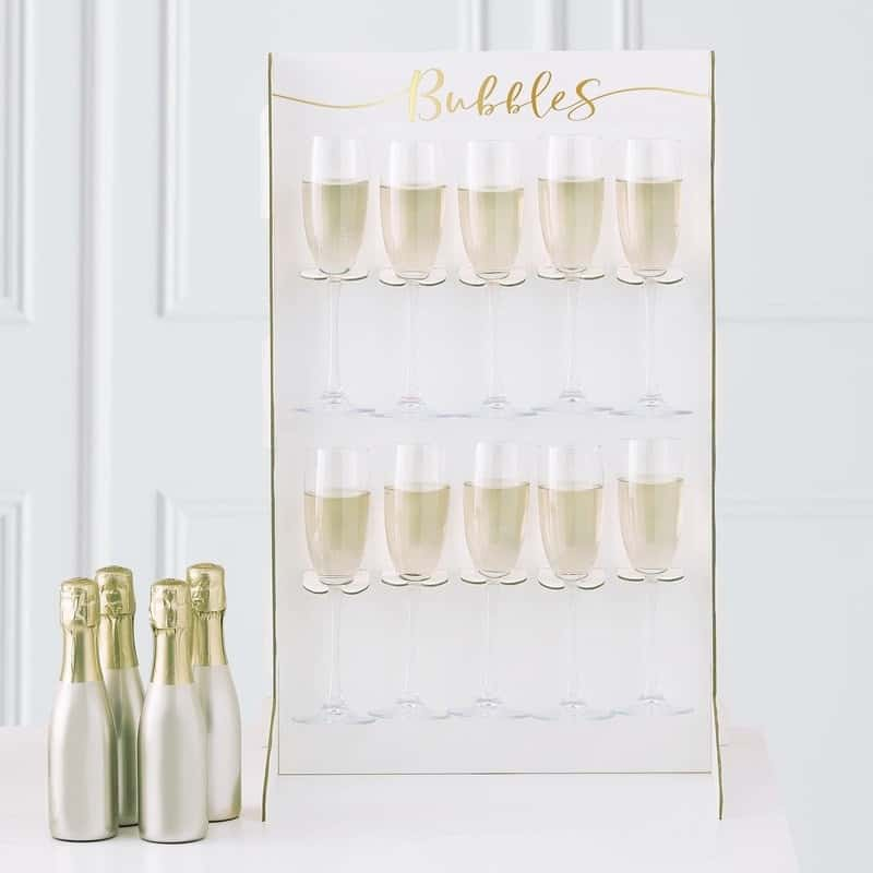Champagne wall for New Year's Eve 2020 party.  A new trend in NYE bashes.