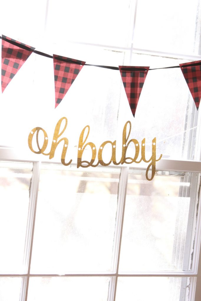 red and black buffalo plaid banner for lumberjack baby boy shower and oh baby banner