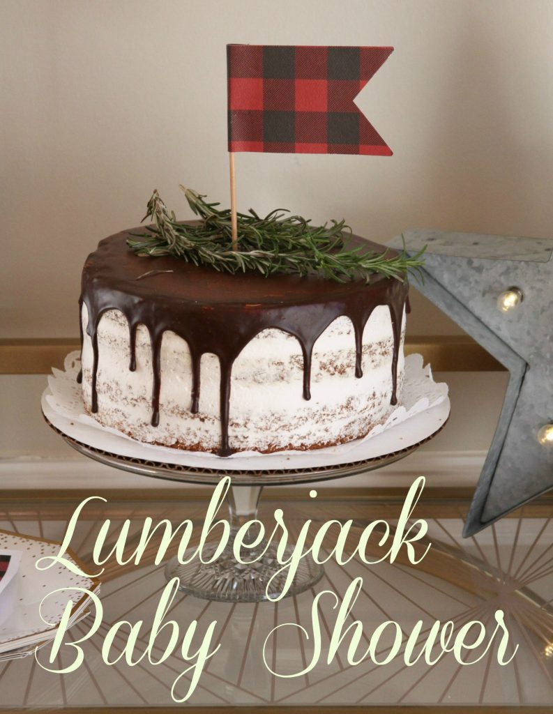 Buffalo check cake topper on a naked cake with chocolate drizzle for lumberjack theme.