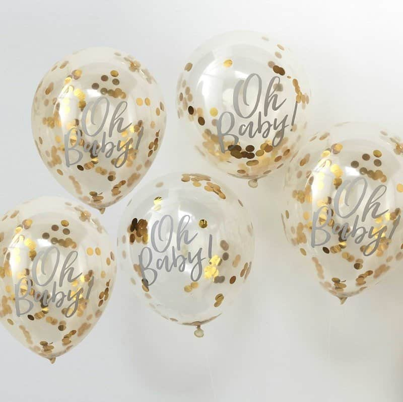 Oh Baby gold confetti balloons - baby shower ideas.