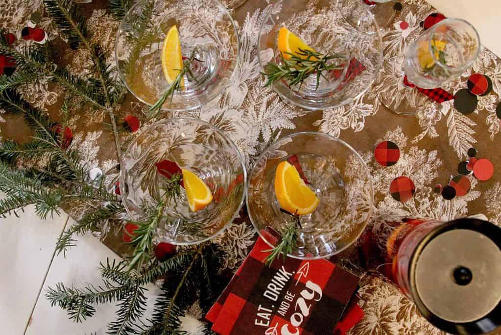 martini glasses for lumberjack baby shower mocktails