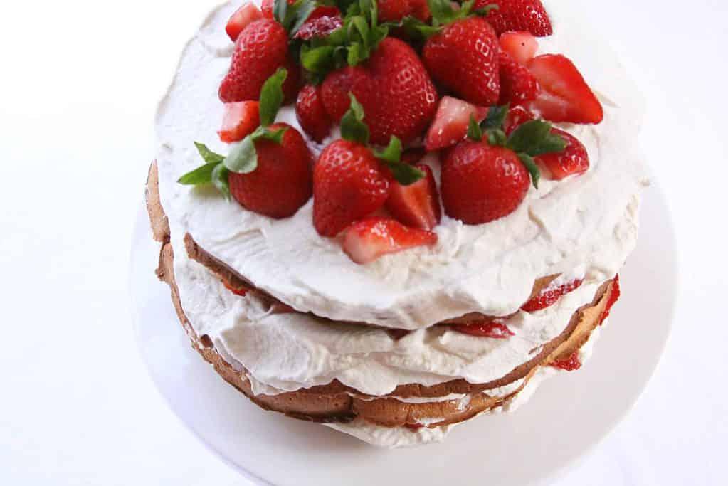 gluten-free strawberry shortcake with basil whipped cream