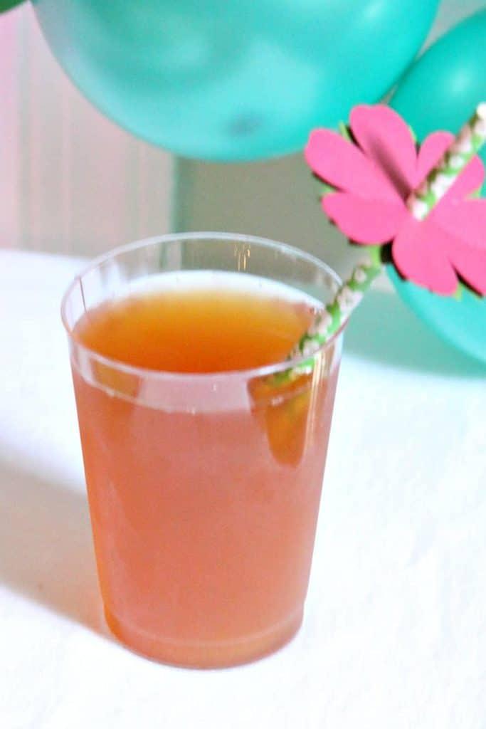 mango iced tea in glass for luau