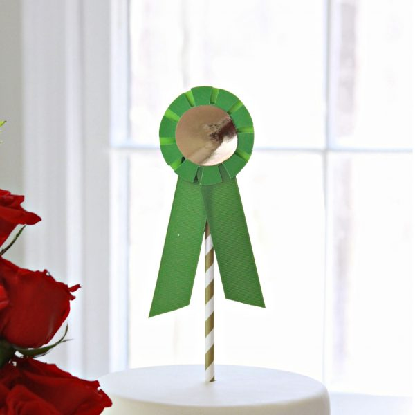 Horse Show Ribbon Cake Topper in Green perfect for a Kentucky Derby Party