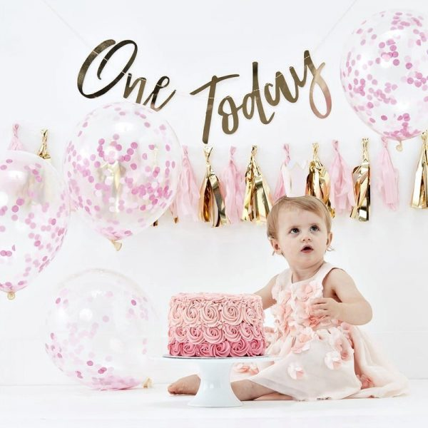 One Today1st birthday party in a box for a girl pink