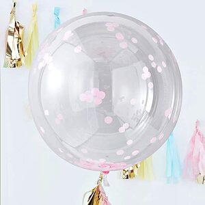 big round pink confetti balloon