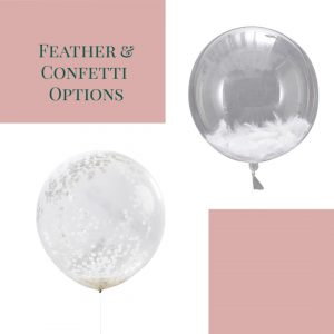 giant white confetti balloon and big feather ballloon orb