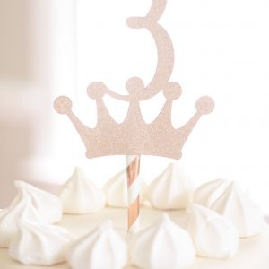 rose gold third birthday day topper - 3 crown