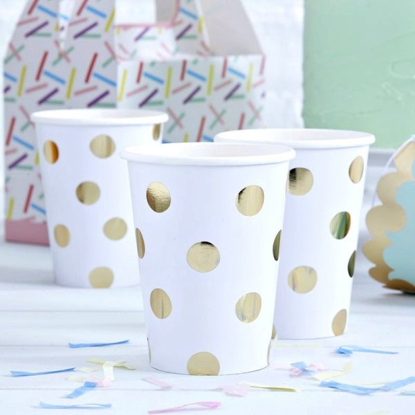 Gold party polka dot paper cups
