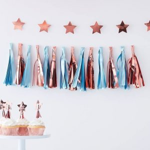 Baby blue and rose gold baby shower decorations