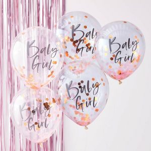 Baby Girl Baby Shower Balloons in pink and rose gold confetti.