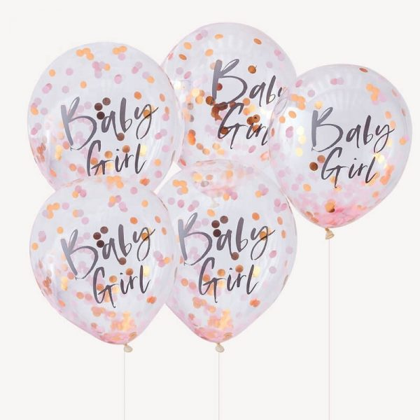 Baby Girl Baby Shower Balloons in Pink and Rose Gold Confetti