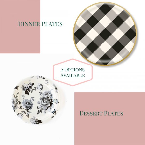 Black and White Buffalo Check and Floral Farmhouse Chic Paper Plates