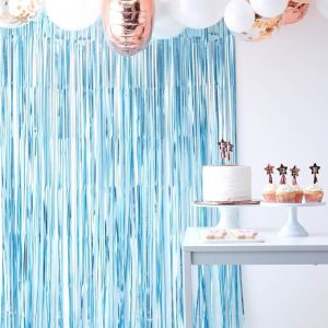 baby blue backdrop fringe curtain high end