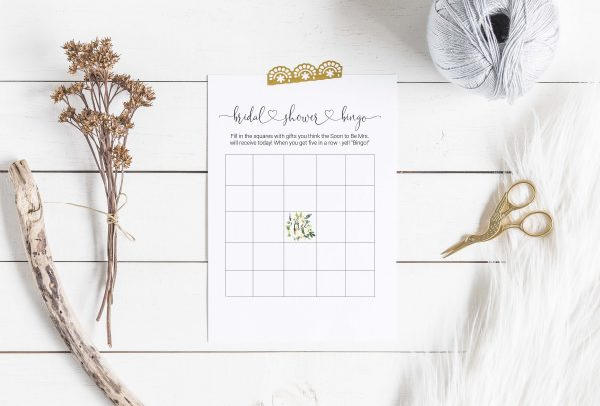 Printable Bridal Shower Game - floral bingo card
