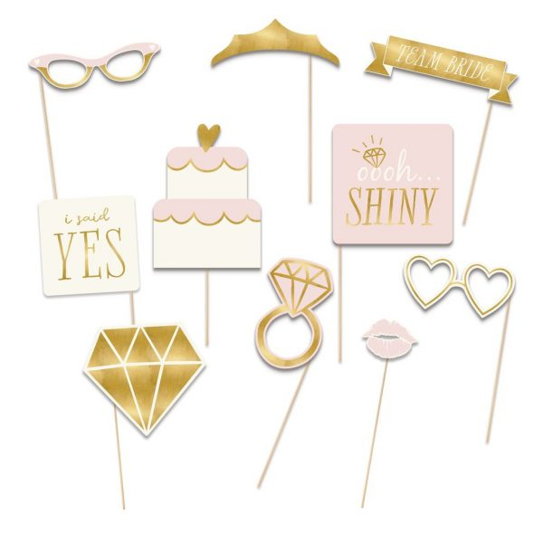 She Said Yes Bridal Shower and Engagement party props in pink and gold