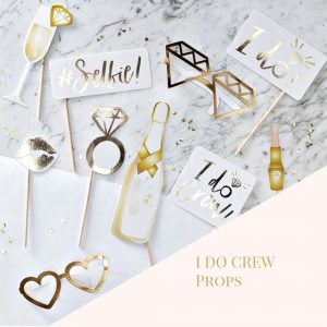 gold foil high end bridal shower photo props