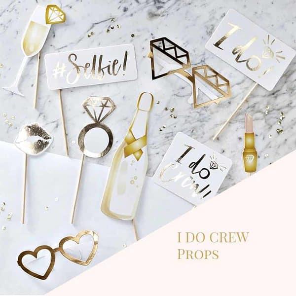 gold foil high end bridal shower photo props