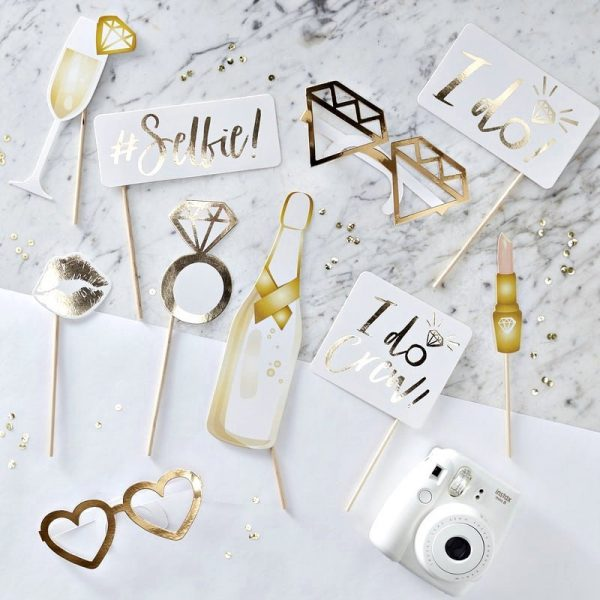 i do crew gold photo booth props for the bridal shower