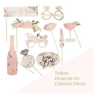 Bridal shower photo props rose gold and floral team bride glasses options
