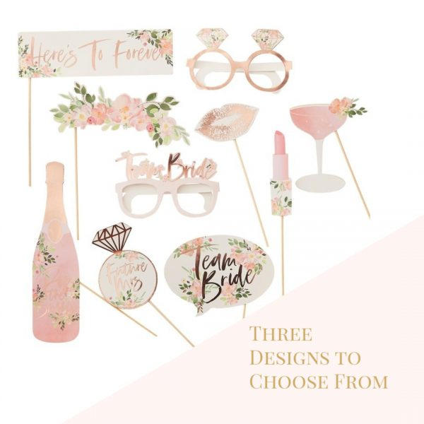 Bridal shower photo props rose gold and floral team bride glasses options