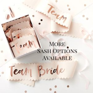 rose gold and blush bridal party bride-to-be and team bride sashes