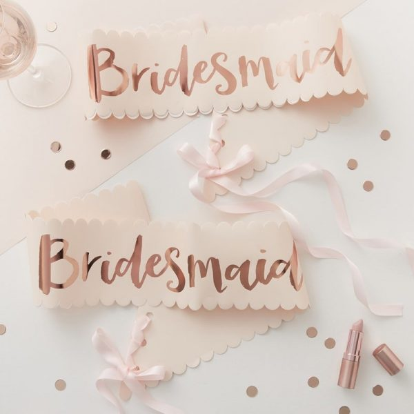 Set of two bridesmaid sashes in rose gold and blush