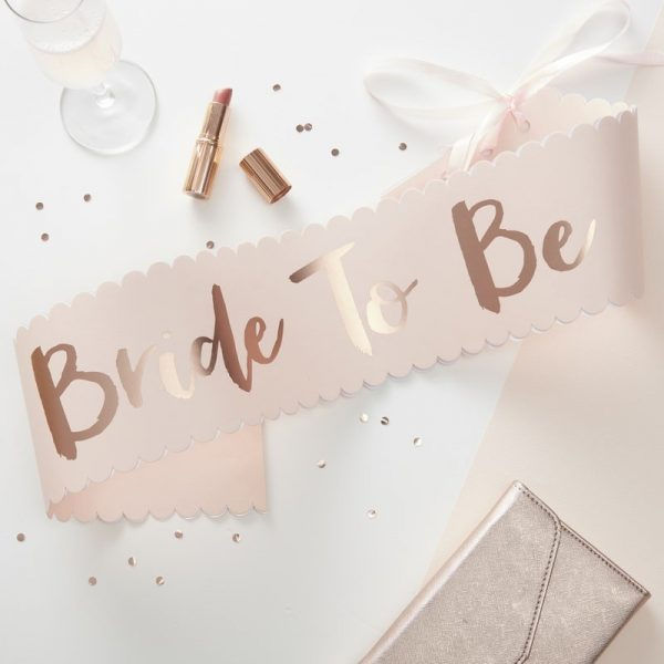 Bride to Be Sash in Rose Gold on Blush