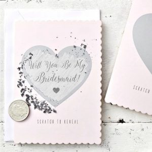 Scratch to reveal bridesmaid proposal cards in silver and pale blush