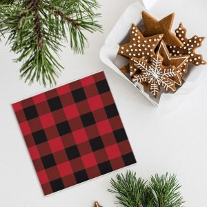 Buffalo Check Napkins for Lumberjack parties and Christmas