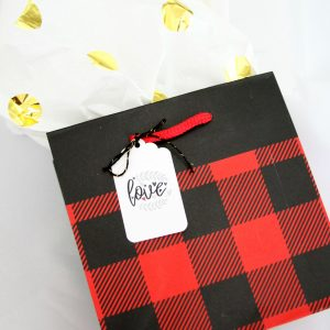 Buffalo Plaid Gift Bag in Red and Black Buffalo Check for Lumberjack Parties, Christmas Wrapping