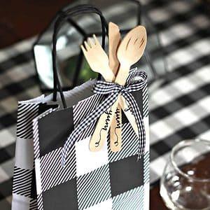 Black and White Buffalo Check gift bags