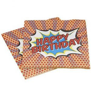 Comic Superhero Party Happy Birthday Napkins