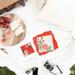Shabby Chic Picnic and Party Supplies for a BBQ or couples shower - floral napkins displayed with Coral Red Paper Plates