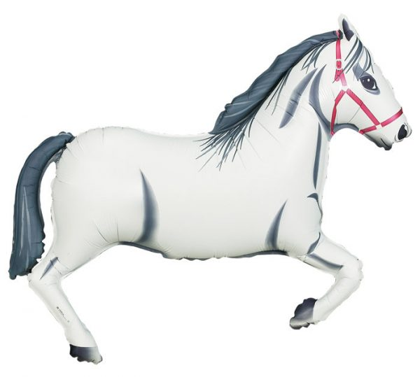 White Derby Horse Balloon perfect for a pony party