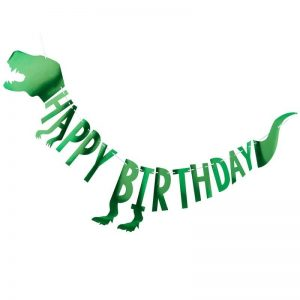 Dinosaur Shaped Happy Birthday Banner in Green foil for a dinosaur-themed party