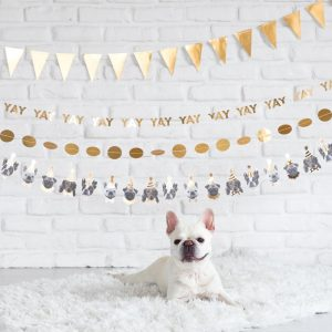 Dog Happy Birthday Banner - high end party decor in gold foil for your fur baby