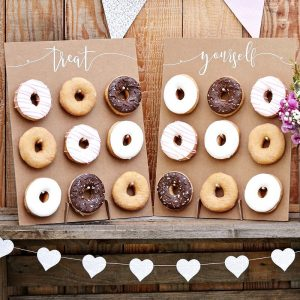 Set of two kraft brown donut wall stands for a rustic wedding or baby shower