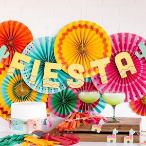 Final Fiesta Party - Bachelorette or Cinco de Mayo - perfect backdrop fans and a fiesta banner with cacti