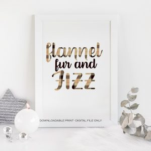 flannel fur and fizz printable in brown plaid for a bachelorette party