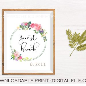 Printable Wedding Guest Book Sign with Floral Wreath Design
