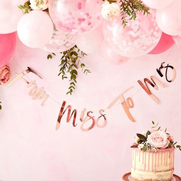 From Miss to Mrs Rose Gold Bridal Shower Banner