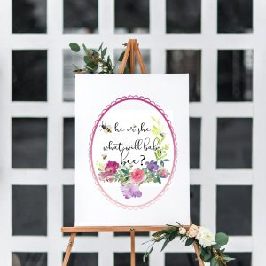 Printable Gender Reveal Sign with Flowers and Bees for a Party