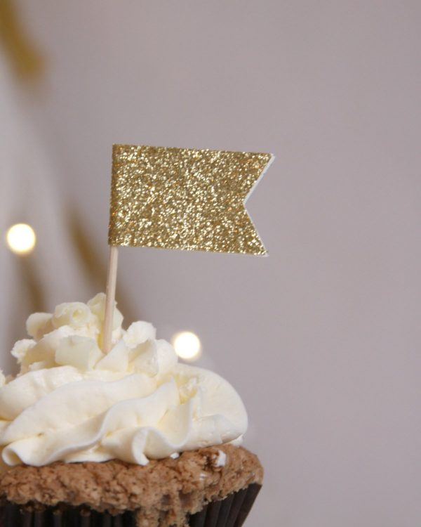 Gold Glitter Cupcake Toppers