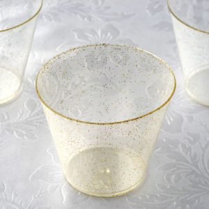 gold glitter cocktail glasses for a baby shower, new year's eve party, wedding, bridal shower or birthday party