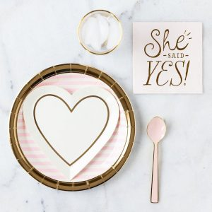 She Said Yes Napkin and Gold Heart Plates