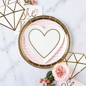 Gold Heart Dessert Plates