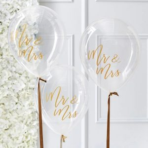 Mr and Mrs Balloons with elegant gold foil and custom handmade balloon tails for a gold wedding decoration