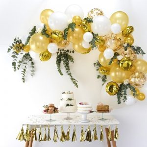 Gold Wedding Balloon Arch for a Glam and Bling Wedding